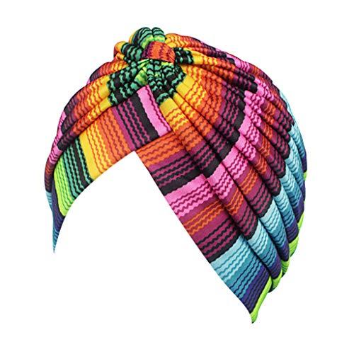 FEDULK Womens Retro Multicolor Hat Rainbow Striped Print Turban Brim Trendy Pile Cap(A, One Size)