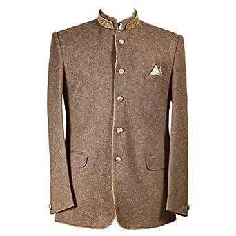 Libas Riyaz Gangji Brown Cotton Blazer For Men