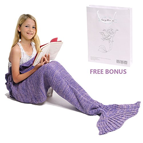 Mermaid Tail Blanket, Amyhomie Mermaid Crochet Blanket for Adult and Kids, All Season Sleeping Bag (Kids, Purple)