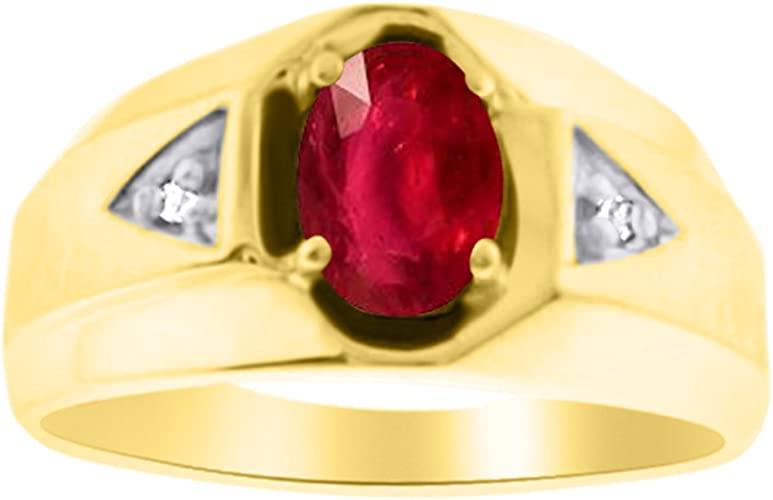 Mens Ruby /& Diamond Ring Sterling Silver or Yellow Gold Plated Band