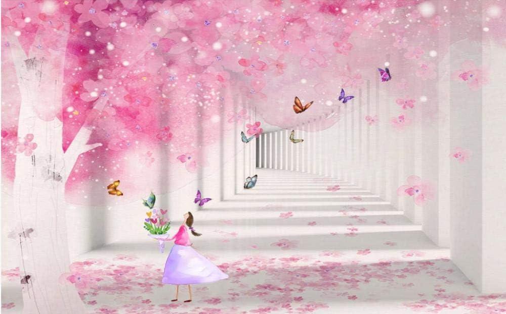 -M Papier Peint Intisse 3D Papillon Rose Fleur De Cerisier Affiche Le Fond Photo Papier Peint Art Accueil D/écoration Enfant Dessin Chambre Gar/çon Fille Chambre /À Coucher - 150x105CM(LxH