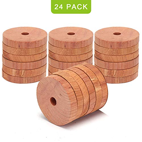 (Coolrunner 24 Pack Cedar Fresh Red Cedar Wood Rings, Aromatic Cedar Blocks, 100% Natural Red Cedar Hangers for Closets and Drawers, Clothes Storage)
