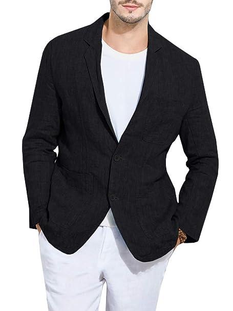 Amazon.com: Blazer de lino para hombre, estilo informal ...