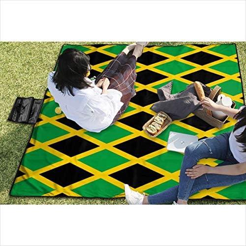 Singledog Grande Coperta da Picnic all'aperto Impermeabile Bandiera Giamaica Tappetino Caraibico Tote Pad per Tappetino da Spiaggia 145X150 cm