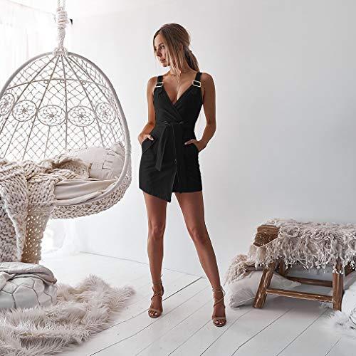 Da Discoteca Moda Mini Abito V Estate Increspato Donna Con Sexy Tasca Sottile Nero Senza Vestito Avvolgere collo Maniche Pulsante polpqed Corto Dress V Profonda tCQrxBshd