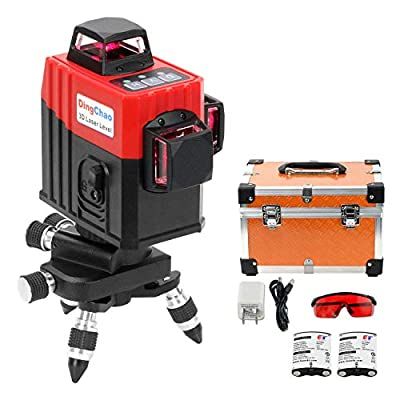 DINGCHAO Laser Level 360 Self Leveling Red Beam 3 x 360 Cross 12 Lines laser,Three-Plane Alignment Leveling Vertical Horizontal with Tilt Function,Receiver Function,Multi-function Construction Tools