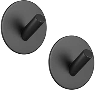 Adhesive Hooks Hgery 3M Self Adhesive Black Wall Mount Hook for Key Robe Coat Towel Super Strong Heavy Duty Stainless Steel Hooks No Drill No Screw Waterproof for Kitchen Bathroom Toilet 2 Pack