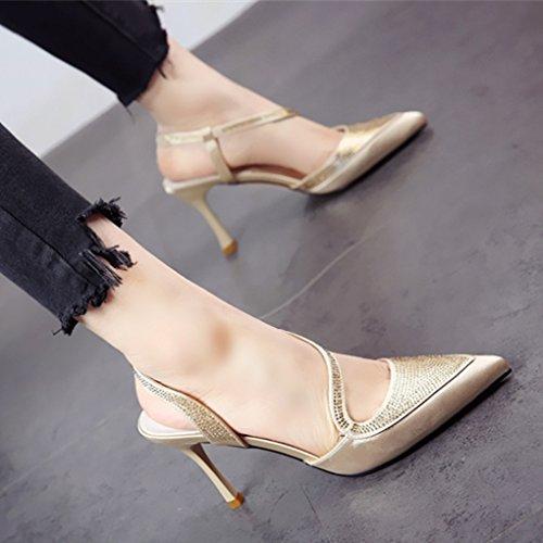 de Zapatos Sandalias Europea Sexy YMFIE Moda Fuerte Alto señoras b Diamante y Cena tacón Hueco Verano xBzAqzSwp