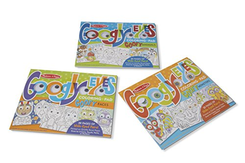 Melissa & Doug Googly Eyes 30-Page Coloring Art Pad 3-Pack-Goofy Animals, Faces, Monsters -