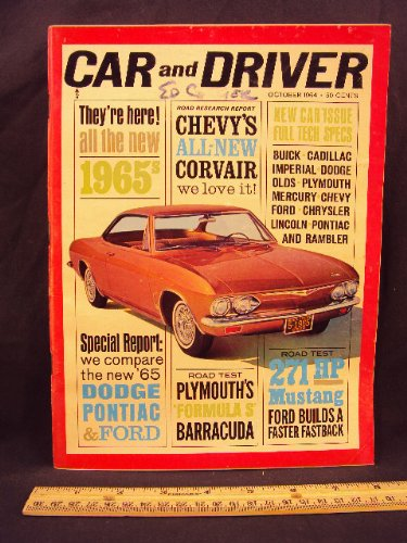 1964 64 October CAR AND DRIVER Magazine (Features: Road Test on Ford Mustang, Plymouth Barracuda, + Corvair Corsa)