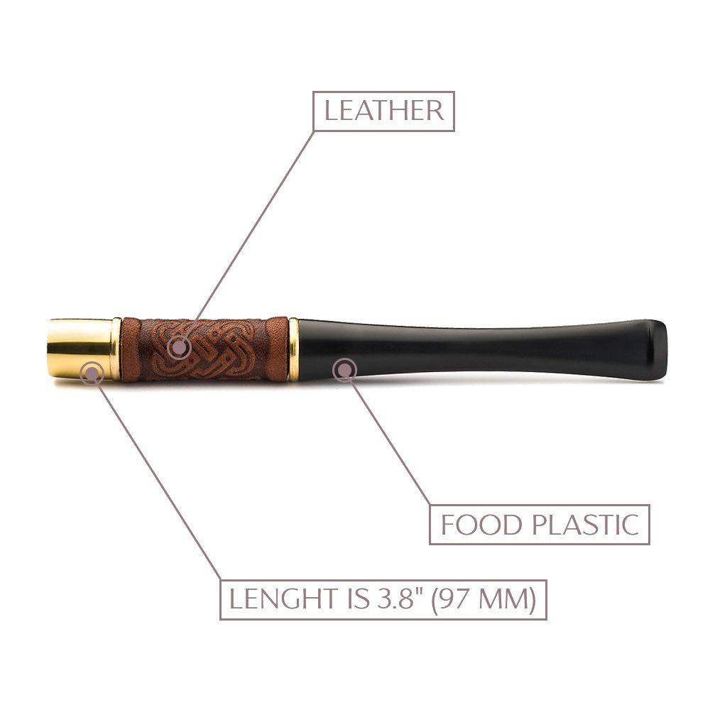 Original Unisex Leather Short Cigarette Holder handmade 3.8''/97mm - ''Standart size''