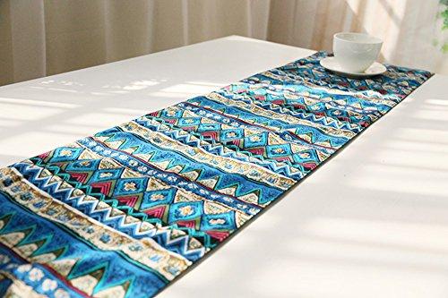 ChezMax Camino de mesa reversible, lino y algodón, estilo bohemio, para fiestas, banquetes, decoración de mesa, diseño de...