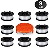 HomeMall Autofeed Line String Trimmer Replacement Spool for Black and Decker Weed Wacker, 30ft 0.065'' Weed Eater Spool, 9 Pack (8 Replacement Spool, 1 Trimmer Cap)