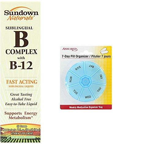Amazon.com: Sundown Naturals vitamina B-12 complejo líquido Sublingual, 2 onzas con gratis 7 días plástico píldora organizadores: Health & Personal Care