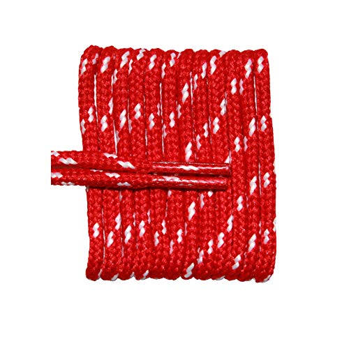 (FootGalaxy Round Laces For Boots And Shoes, 72, Red with White Chip)