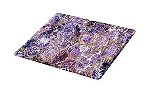 Italian Marble Fruit - Lunarable Marble Cutting Board, Italian Style Stone Surface in Shady Renaissance Effects Image, Decorative Tempered Glass Cutting and Serving Board, Large Size, Purple