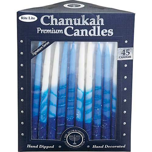 Rite-Lite Judaica Premium Chanukah Candles. Handcrafted, Tri-Color Blue/White Stripe. Box of 45