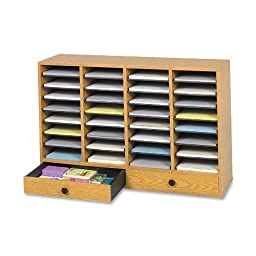 Safco Products 9494MO Wood Adjustable Literature Organizer, 32 Compartment with Drawer, Oak