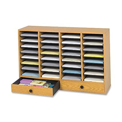 Safco Products 9494MO Wood Adjustable Literature Organizer 32 Compartment with Drawer Oak  sc 1 st  Amazon.com & Amazon.com : Safco Products 9494MO Wood Adjustable Literature ...