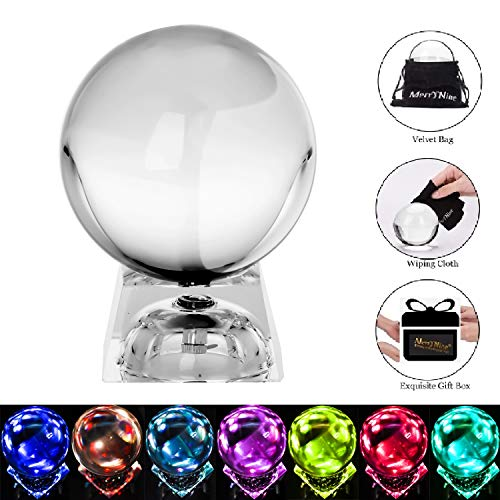 MerryNine Photograph CrMerryNine Crystal Meditation Ball Globe, ystal Ball with A Stand, K9 Crystal Suncatchers Ball, Home Decoation Ornaments, Photography Accessory (80mm/3.2