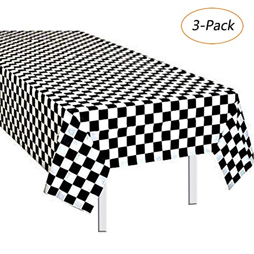 Eccbox Pack of 3,Black & White Checkered Table Cover/Race Car Party Favor/Disposable Racing Tablecloth 54
