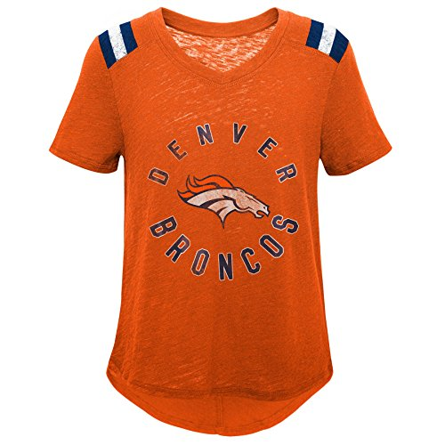 Outerstuff NFL NFL Denver Broncos Youth Girls Retro Block Vintage Short Sleeve Football Tee Orange, Youth Medium(10-12) - Metallic Short Sleeve Jersey