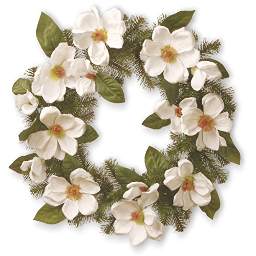 National Tree North Valley Spruce Wreath with Cream Magnolia Flowers (NRV7-13-24W)