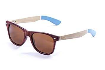 OCEAN SUNGLASSES Beach Lunettes de Soleil Mixte Adulte, Bamboo Brown Frame/Wood Natural White/Blue Arms/Brown Lens