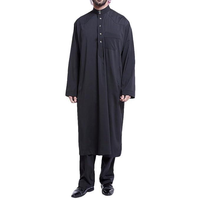 e5a55c29c4b8 TAAMBAB Adult Islamico Abaya Musulmano Uomo Vestiti-Medio Orienteern Saudi  Ethnic Arabo Robe+Pant 2 Piece Sets