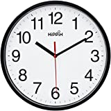 Hippih Black Wall Clock Silent Non Ticking Quality Quartz, 10 Inch Round Easy to Read For Home Office School Clock red second hand