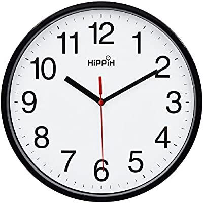 HIPPIH Black Wall Clock Silent Non Ticking Quality Quartz, 10 Inch Round Easy to Read for Home Office School Clock red Second Hand - Concise style - Clear to read,Special and elegant design meet all your decoration need Non ticking - Quiet sweep second hand, no ticking to ensure a good sleeping or working environment SATISFIED MANFACTURE PROTECTION: we are committed to making quality products you will surly enjoy. We stand behind all our products, and offer a full 12 month protection, so you can buy with confidence! If you are not fully satisfied, reach out to us. We will do what it takes to make you satisfied. - wall-clocks, living-room-decor, living-room - 51cdHH8qrUL. SS400  -