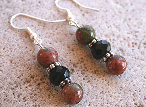 (Western Unakite Onyx Natural Stone Sterling Silver Earrings,)