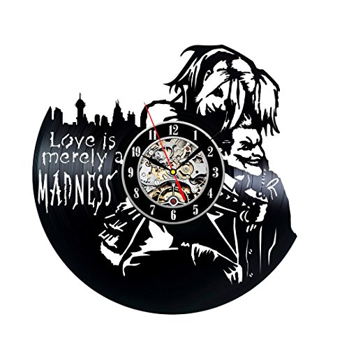 Harley Quinn and Joker Theme Vinyl Record Clock by Gullei.co