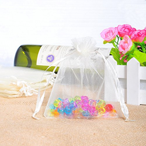HOUSWEETY 100PCs White Organza Wedding Favour Bags Jewellery