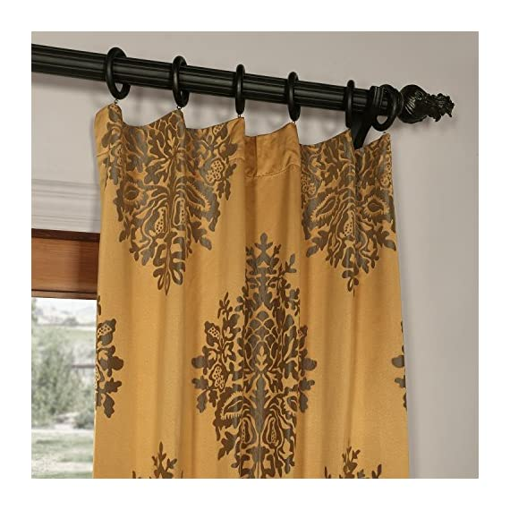 JQCH-20160702-108 Ellaria Faux Silk Jacquard Curtain,Olympic Bronze,50 X 108 - Sold per panel 100% polyester | lined 3'' Pole pocket with hook belt - living-room-soft-furnishings, living-room, draperies-curtains-shades - 51cdHga38RL. SS570  -