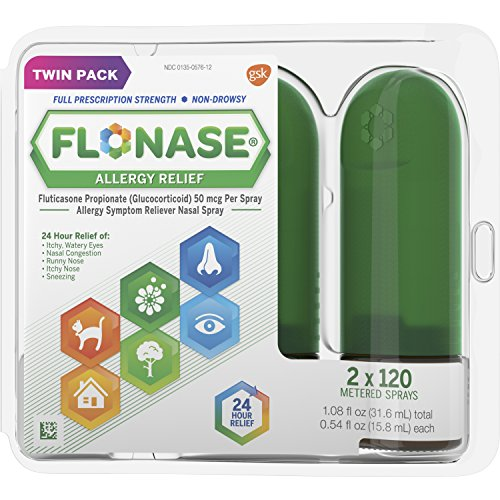 Flonase 24hr Allergy Relief Nasal Spray, Full Prescription Strength, 240 sprays (Twinpack of 120 - Nose Allergy Spray