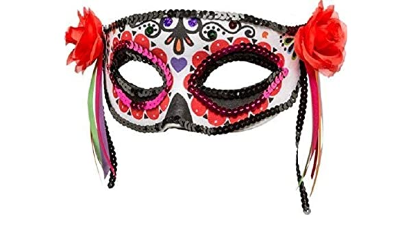 Fancy Me Máscara de Media Cara para Disfraz de Calavera de azúcar ...