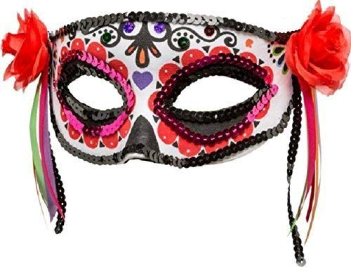 Ladies Day of The Dead Skeleton Sugar Skull Mexican Half Face Masquerade Halloween Horror Fancy Dress Costume Outfit Accessory Mask -