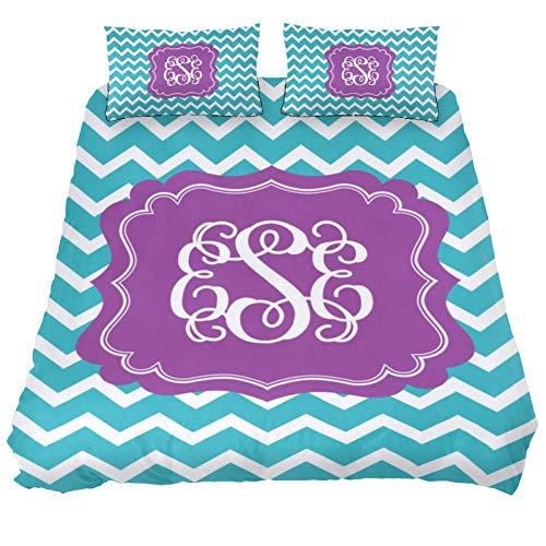 LORVIES Chevron Monogram Duvet Cover Set, 3 Piece - Microfiber Comforter Quilt Bedding Cover with Zipper, Ties, Decorative Bedding Sets with Pillow Shams for Men Women Boys Girls Kids Teens