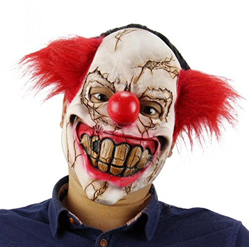 Cheap Scary Clown Costumes (Scary Devil Clown Adult Halloween Mask Costume Creepy Demon Cosplay Masks Accessory Props)