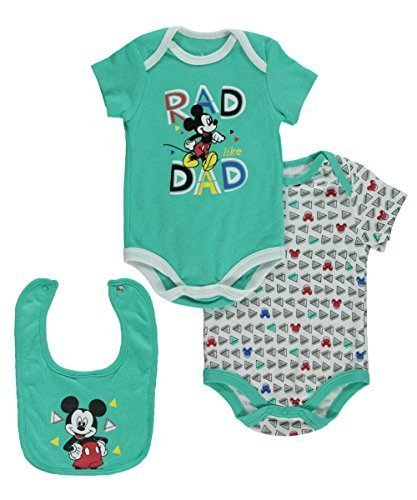 Disney Baby Boys' Mickey Mouse 2 Pack Bodysuit with Bib