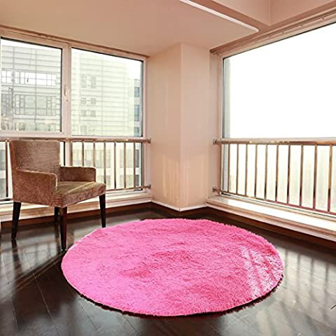 BHoming(TM) Soft & Plush Nursery Solid Baby Rose Kids Shag Area Rugs, 2.6 Feet Diameter (Gray And Pink Round Rug)