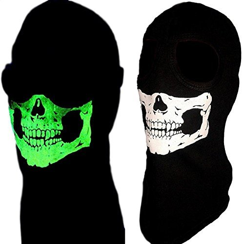 American Made Childs Size Glow in the Dark 2 Hole Winter Hood Skeleton Skull Ghost Ski Face Mask Balaclava Fits Heads 18-21.5 inches Circumference -
