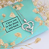 """925 Sterling Silver Jewelry """"I Love You To The Moon and Back"""" Love Heart Pendant Necklace, 18 Box Chain"""