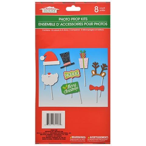 Green Christmas Photo Cards (8 Count Christmas Photo Prop Kit - Perfect for Holiday Party, Christmas Cards, or More)
