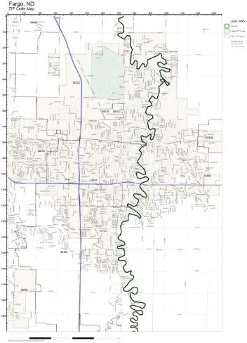 Amazon Com Zip Code Wall Map Of Fargo Nd Zip Code Map Laminated