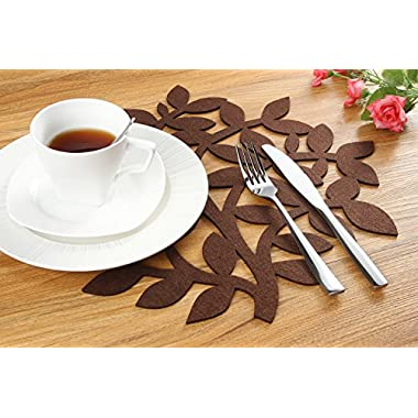 Dulce Cocina Chocolate Felt Placemats - 38 cm (15 Inch) Round - Liquid Absorbent & Heat Resistant, Set of 4 Place Mats
