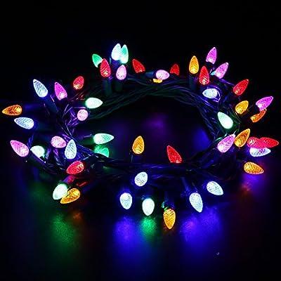 MAXINDA [UL Listed Outdoor LED String Lights,18 feet 50 LEDs Mood Lighting Strands,Diamond Strawberry C3 Bulbs, Christmas Lights,for Patio Garden Holiday Wedding Decor