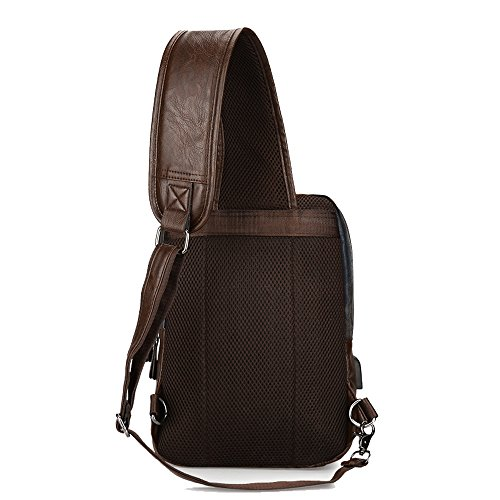 Sling Backpack Men Vintage PU Leather CrossBody Large Capacity Casual Office Travel Backpack With External USB Charge and Earphone Outdoor Cross body Bag Black