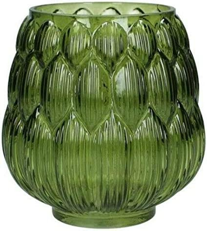 Homes On Trend Flower Vase Green Glass Bud Leaf Vase Decorative Art Deco Style Vase For Flowers Single Stem Round Vintage Style Holder For Wedding Table Decorations Centrepiece Settings Amazon Co Uk Kitchen